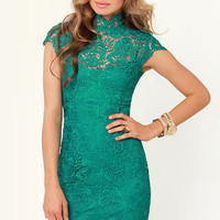 Blaque Label Story of Love Teal Lace Dress