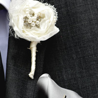 Shabby Chic Buttonhole Groom Boutonniere Groom Wedding