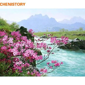 CHENISTORY Romantic River Landscape DIY Painting By Numbers Kits Acrylic Paint On Canvas Handpainted Home Wall Decor Art Picture