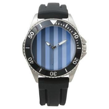 Monochrome Shades of Blue Color Block Stripes Wristwatches