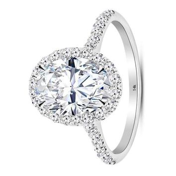 .2.5 Carat GIA Certified 14K White Gold Halo Oval Cut Diamond Engagement Ring (2 Ct D Color VS1 Clarity Center)