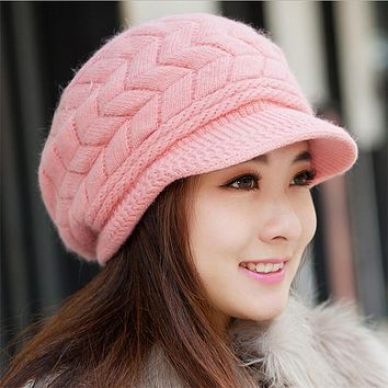 Newest Hot Sale Elegant Wholesa Women Knitted Hats Rabbit Fur Cap Autumn Winter Ladies Fashion Skullies Warm Hat Female