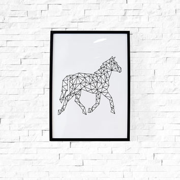 Large Wall Art Horse Minimal Print Large Abstract Wall Art Large Print Large Poster Modern Wall Decor Minimalist Print Dormroom Decor