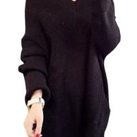Batwing Sleeve Side-Slit Pullover Knit Sweater