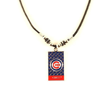 MLB Officially Licensed Chicago Cubs Gridiron Diamond Plate Rope Necklace