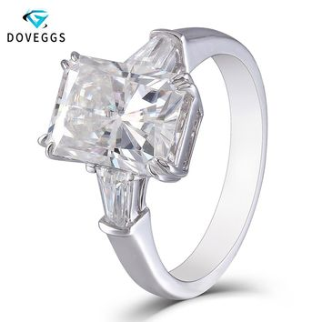 DovEggs Solid 14K White Gold Center 4ct 8X10mm FG Color Radiant Cut Moissanite Diamond 3 Stone Engagement Ring For Women Gift