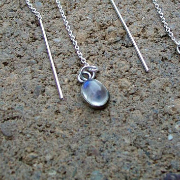 Moonstone Ear Threads Earrings Sterling Silver Pull by tarren