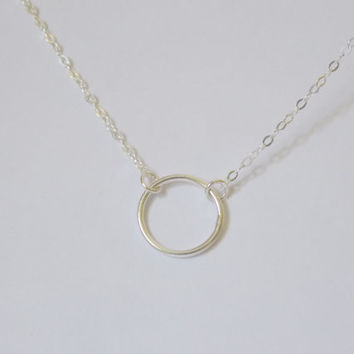 VALENTINE'S DAY, Tiny Circle Necklace. Circle of Life Ring Sterling Silver Smooth Simple Delicate