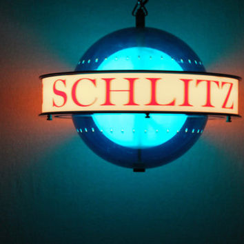 Vintage 1961 Schlitz Beer Rotating Hanging World Globe Light, Spinning