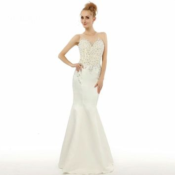 Mermaid Beaded Sheer Back Floor length Prom Dresses Special Occasion Real Evening Dresses