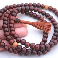 DharmaObjects Tibetan 108 Beads Rosewood Meditation Mala / Prayer Beads / Rosary