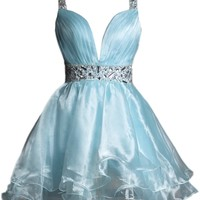 Sunvary Light Blue Sexy Organza Short Cocktail Evening Gowns Homecoming Dresses - US Size 2- Light Blue
