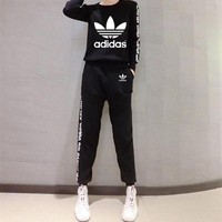 """Adidas"" Women Sport Casual Stripe Letter Print Long Sleeve Trousers Set Two-Piece Sportswear"