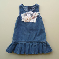 Shabby Girls Denim Jumper. Refashioned Ralph Lauren Play Clothes. Boho Prairie Girl. Rustic Country Toddler Dress. Vintage Tattered Flower.