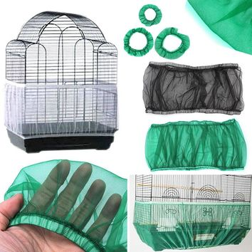 Hot Sale S-L Unique Soft Easy Cleaning Nylon Airy Fabric Mesh Bird Cage Cover Shell Skirt Seed Catcher Guard 3 Colors