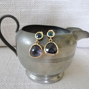 gold post earrings. gold stone earring with purple amethyst and london blue topaz cz.