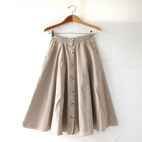 20% OFF SALE Vintage Light brown khaki Skirt. Mini Length Skirt. Button Front Skirt. High Waist Skirt. Bohemian Preppy.