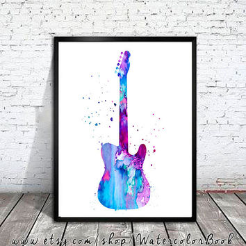 Guitar Watercolor Print, Guitar art, music art, watercolor painting, watercolor art, Illustration, art print, music poster
