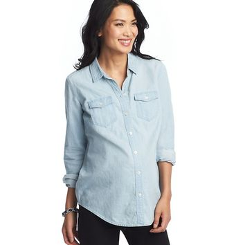 Maternity Chambray Denim Long and Lean Shirt