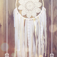 White & Pale Peach Beaded Lace Crochet Doily Shabby Chic Boho Gypsy Dreamcatcher // Baby Nursery Decor