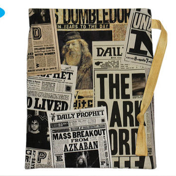 NEW Sock Bag | Harry Potter | Knitting Project Bag | Drawstring Pouch | Knitting Bag | Daily Prophet