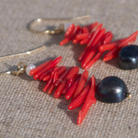Earrings Black Pearls Red Coral 14k Gold Fill. Modern asian resort beach style. Sophisticated, sexy colour and design. Christmas gift.