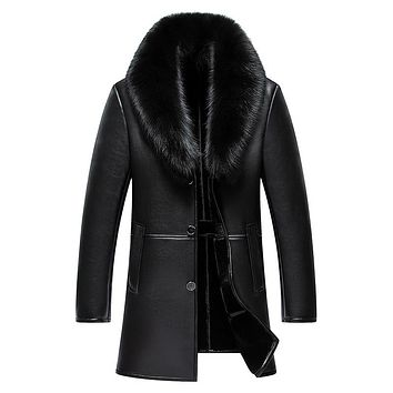 Arrival Long Real Big Fur Collar Men's Winter Leather Jacket Thick Warm Leather Men Coat