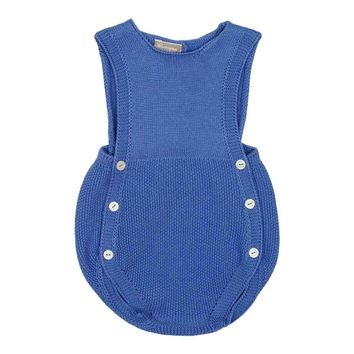 Carmina Baby Boy's Deep Blue Knit Bubble Romper