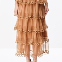 Tiered Gypsy Midi Skirt in Latte