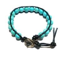 Turuqoise wrap friendship bracelet - turquoise beads brown dark leather silver plated button