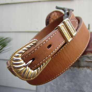 Vintage Circle Y of Yoakum Tan Western Leather Belt, W40 W42 W44 / 102-112 cm // Cowboy Belt