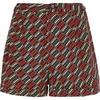 River Island Womens Red aztec print high waisted shorts