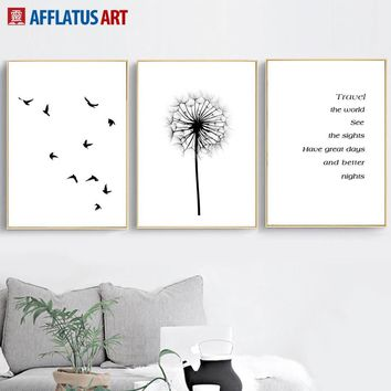 Bird Quotes Dandelion Landscape Nordic Posters And Prints Wall Art Canvas Painting Wall Pictures For Living Room Bedroom Decor