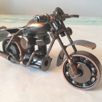 "Collectible 5"" long Vintage Handmade metal craft Harley Davidson Motorcycle Model Diecast for home office Bar Decoration"