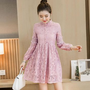 Free Shipping 2017 autumn new women Korean version Stand collar lantern long sleeve hollow hook flowers lace dress