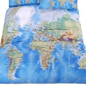 World Map Bedding Set Vivid Printed Blue Bed Duvet Cover with Pillowcase
