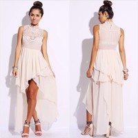 Beige High Neck Embroidered High Low Evening Gown