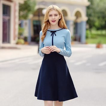 Knit Winter Women's Fashion Round-neck Patchwork Dress One Piece Dress [206228815898]