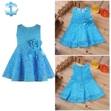 Summer New Girls Dress/elegant Princess Dress With Flower/fashion Lace Dress