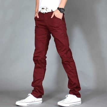 Mens Pants Male Slim Straight Stretch Skinny Track Sweatpants Pantalones Hombre