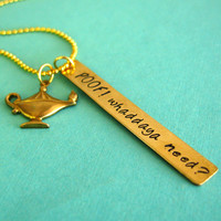 Aladdin Genie Necklace - Poof Whaddaya need with magic lamp in brass