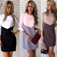 The new stitching hit color casual dress