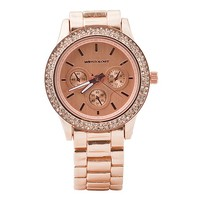 "Wristology ""Alex"" Ladies Rose Gold Pink Dial Crystal Bezel Chunky Boyfriend Watch Women's for Women"