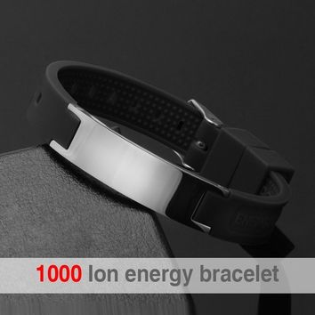 Hottime 1000 Negative Ion 4 in 1 Bio Elements Power Energy Magnetic Silicone Bracelet Keep Balance Body 20001