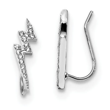 Sterling Silver Rhodium-plated CZ Lightning Bolt Ear Climber Earrings QE13670