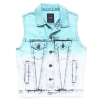 AFTERNOON DENIM VEST / INDIGO x TURQUOISE GREEN