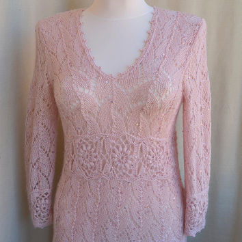 Knitted dirty pink sweater-tunic