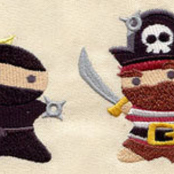 Ninja vs Pirate embroidered toddler hoodie by MorningTempest