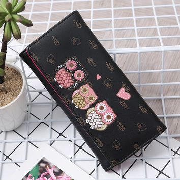 2018 Fashion Women Simple Retro Owl Printing PU Leather Long Wallet Hasping Coin Purse Waterproof Card Holders Handbag 23Jun 13