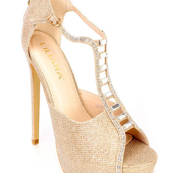 Gold T Strap Platform Rhinestone Decor High Heels